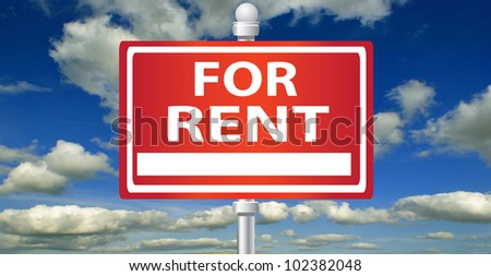 For rent signpost on sky background - stock photo