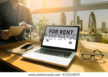 FOR RENT  Thoughtful male person looking to the digital tablet screen, laptop screen,Silhouette and filter sun