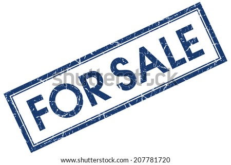 For sale blue square grungy stamp isolated on white background - stock photo