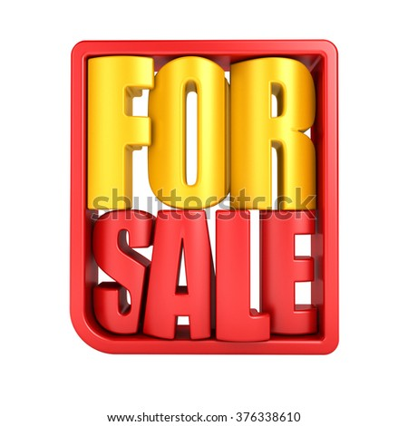 For sale 3d text in frame isolated over white background - stock photo