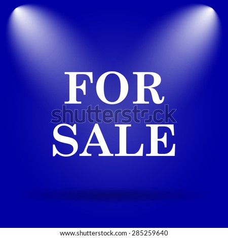 For sale icon. Flat icon on blue background.