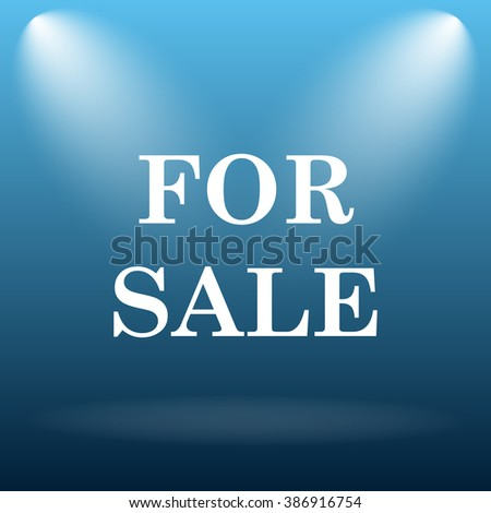 For sale icon. Internet button on blue background.