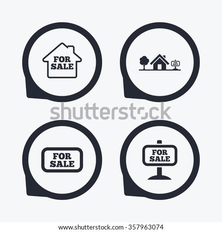 For sale icons. Real estate selling signs. Home house symbol. Flat icon pointers. - stock photo