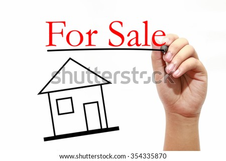 For Sale - Real Estate Concept - House with text and male hand w - stock photo