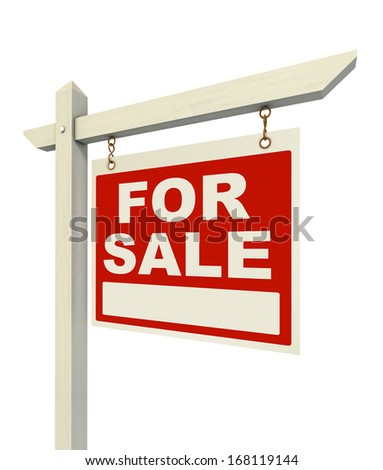 for sale real estate sign isolated on white background - stock photo