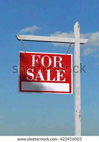 For Sale - Real Estate Sign on heaven background - 3D Rendering