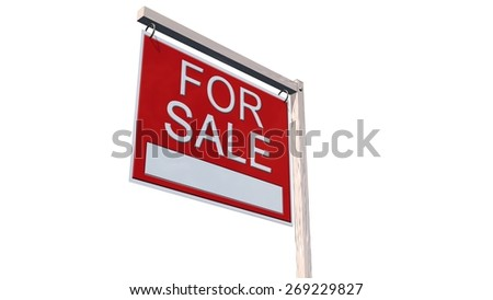 For Sale Real Estate Sign - separated on white background