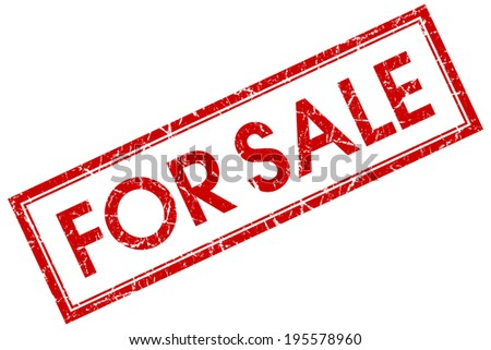 For sale red square grungy stamp isolated on white background - stock photo
