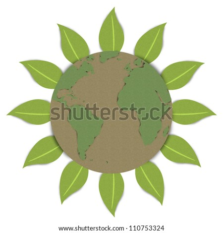For Stop Global Warming or Save The Earth Concept, The Beautiful Sun With Globe Inside Made From Recycle Paper Isolated on White Background - stock photo