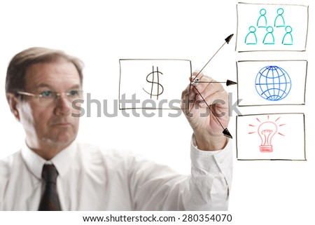 For succesful business a good team global reach and innovation are needed - stock photo