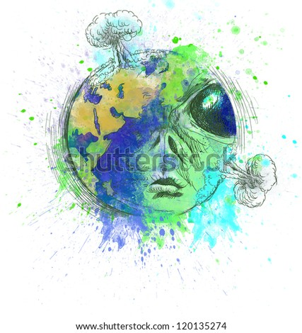 For the protection and understanding of our planet are naive opinions and questions legitimate: We humans are part of nature or civilization seeds lost in time, from remote corners of the universe? - stock photo