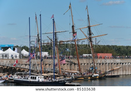 For the second edition of Tall Ships on the Quays, six tall ships await visitors at the Old Port: the Niagara, the Pride of Baltimore II, the Lynx, the Challenge, the Pathfinder and the St-Lawrence II - stock photo