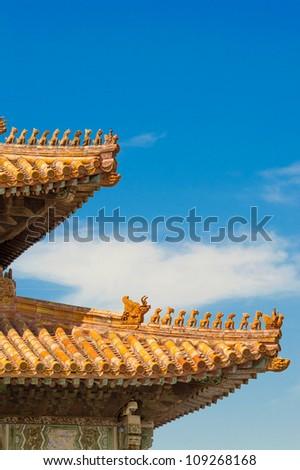 forbidden city detail in beijing - stock photo