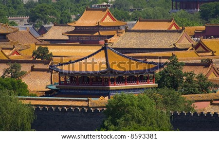 Forbidden City, Emperor's Palace, Beijing, China taken from a public park. The Forbidden City is a National Monument in China.  No property release is required since taken from a public park. - stock photo