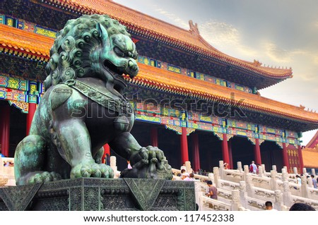 Forbidden City Lions - stock photo