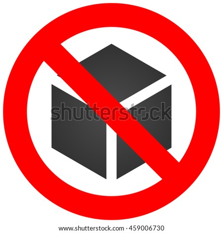 Forbidden sign with cube icon isolated on white background. Using cube is prohibited illustration. Box is not allowed image. Cubes are banned.