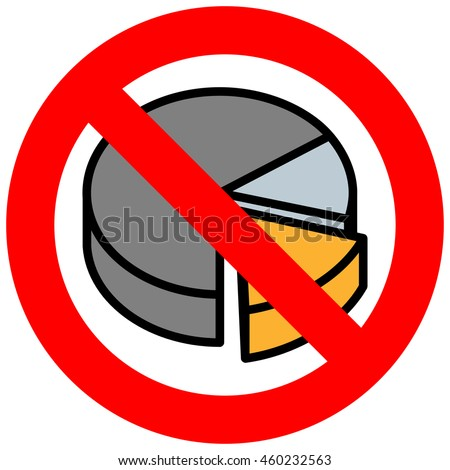Forbidden sign with diagram icon isolated on white background. Making graph is prohibited illustration. Diagram is not allowed image. Graphics are banned.