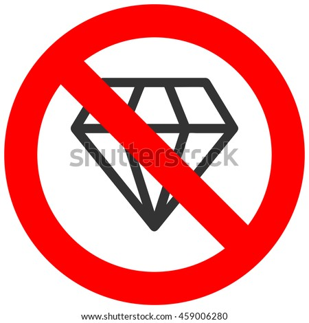 Forbidden sign with diamond icon isolated on white background. Jewelry is prohibited illustration. Diamond is not allowed image. Jewelry products are banned.