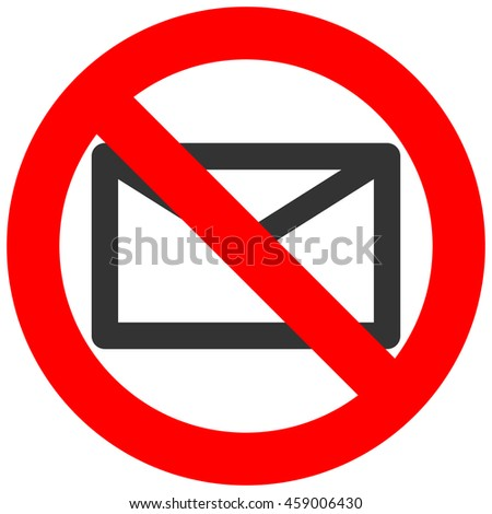 Forbidden sign with envelope icon isolated on white background. Mail is prohibited illustration. Email is not allowed image. E-mail is banned.