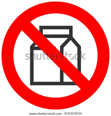 Forbidden sign with milk pack icon isolated on white background. Eco pack is prohibited illustration. Eco pack is not allowed image. Eco packagings are banned.
