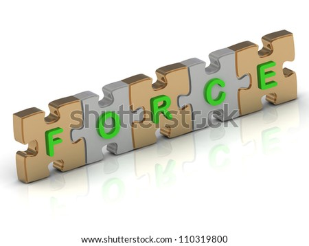 FORCE word of gold puzzle and silver puzzle on a white background - stock photo