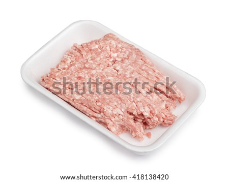 Forcemeat on plate isolated on white background - stock photo