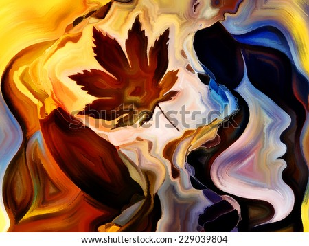 Forces of Nature series. Arrangement of colorful paint and abstract shapes on the subject of modern art, abstract art, expressionism and spirituality - stock photo