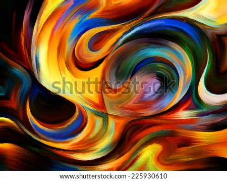 Forces of Nature series. Artistic background made of colorful paint and abstract shapes for use with projects on modern art, abstract art, expressionism and spirituality - stock photo