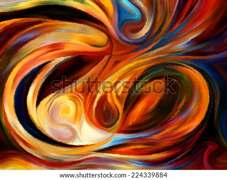 Forces of Nature series. Backdrop composed of colorful paint and abstract shapes and suitable for use in the projects on modern art, abstract art, expressionism and spirituality - stock photo