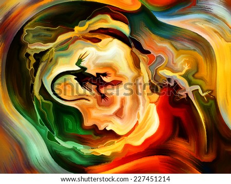 Forces of Nature series. Background design of colorful paint and abstract shapes on the subject of modern art, abstract art, expressionism and spirituality - stock photo