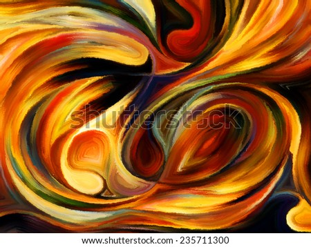 Forces of Nature series. Composition of colorful paint and abstract shapes suitable as a backdrop for the projects on modern art, abstract art, expressionism and spirituality - stock photo