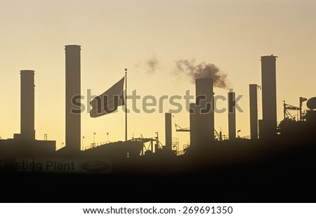 Ford factory at sunset in Cleveland, OH - stock photo