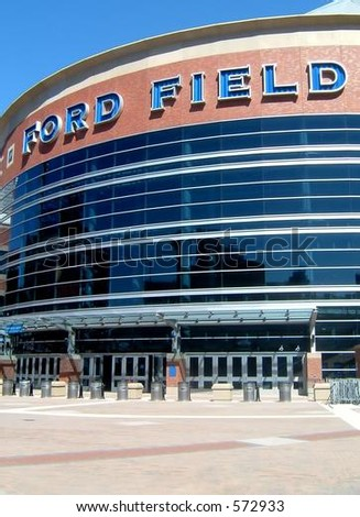 Ford Field, home of the NFL's Detroit Lions and host to Super Bowl XL (40) in 2006. - stock photo