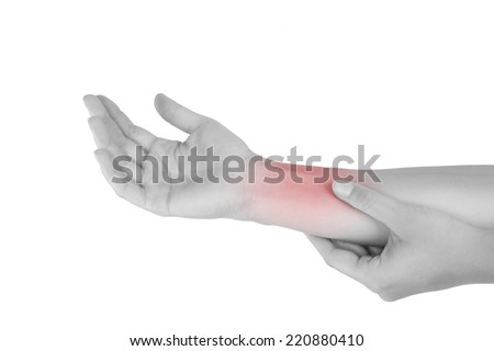 Forearm muscle strain. Female hand touching forearm isolated on white background.  - stock photo