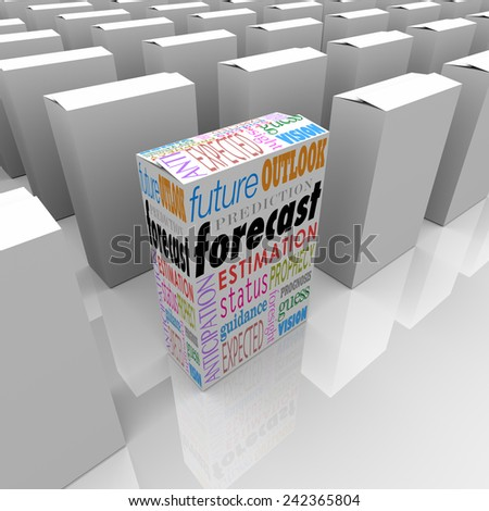 Forecast word on a unique product package or box on a shelf with many others, with special words outlook, prediction, forecast guidance and more - stock photo