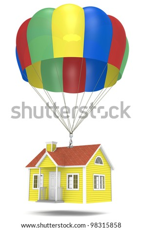 Foreclosure. House hanging from a parachute. - stock photo