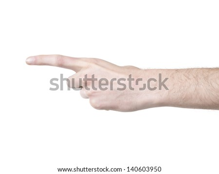 Forefinger pointing to the left - stock photo