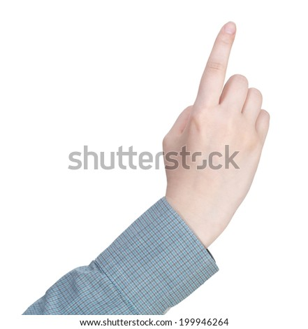 forefinger presses - hand gesture isolated on white background