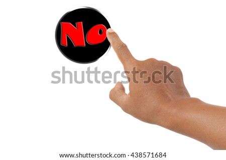 forefinger pressing no button - stock photo