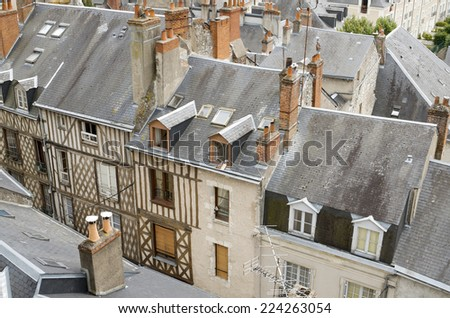 forefront of roofs in the old city of Blois, Loire Valley, France - stock photo