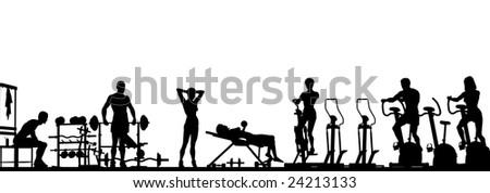 Foreground of a gym scene in silhouette (vector file also available)
