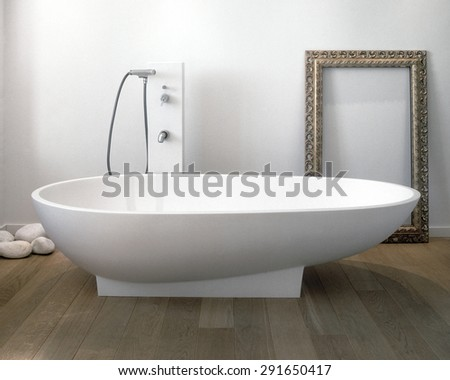 foreground of bathtub in the modern bathroom with wood floor
