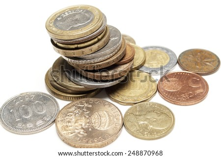 Foreign Coins, Money for Different Countries, Wold Currencies  - stock photo