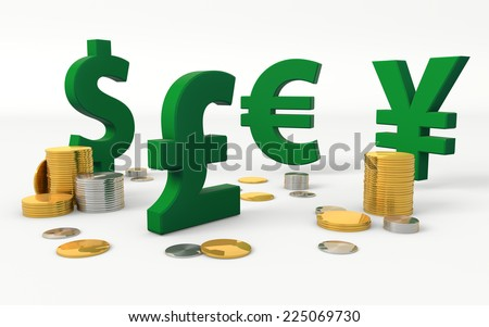Foreign currencies signs: American Dollar, British Pound, Euro, Japanese Yen - stock photo