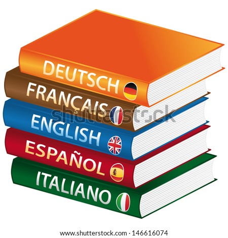 Foreign languages books icon. - stock photo