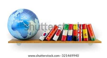 Foreign languages learn and translate education concept, books with flags of world countries and Earth globe on bookshelf isolated on white background (Elements of this image furnished by NASA) - stock photo