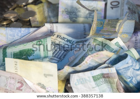 Foreign money collage background. Bank notes from different countries - stock photo
