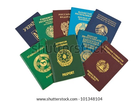 Foreign passports isolated on white  background - stock photo
