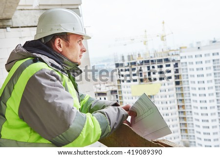 foreman construction engineer worker portrait - stock photo