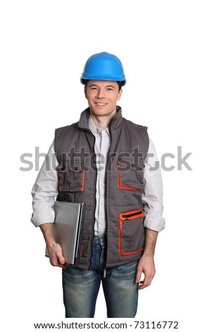 Foreman standing on white background - stock photo